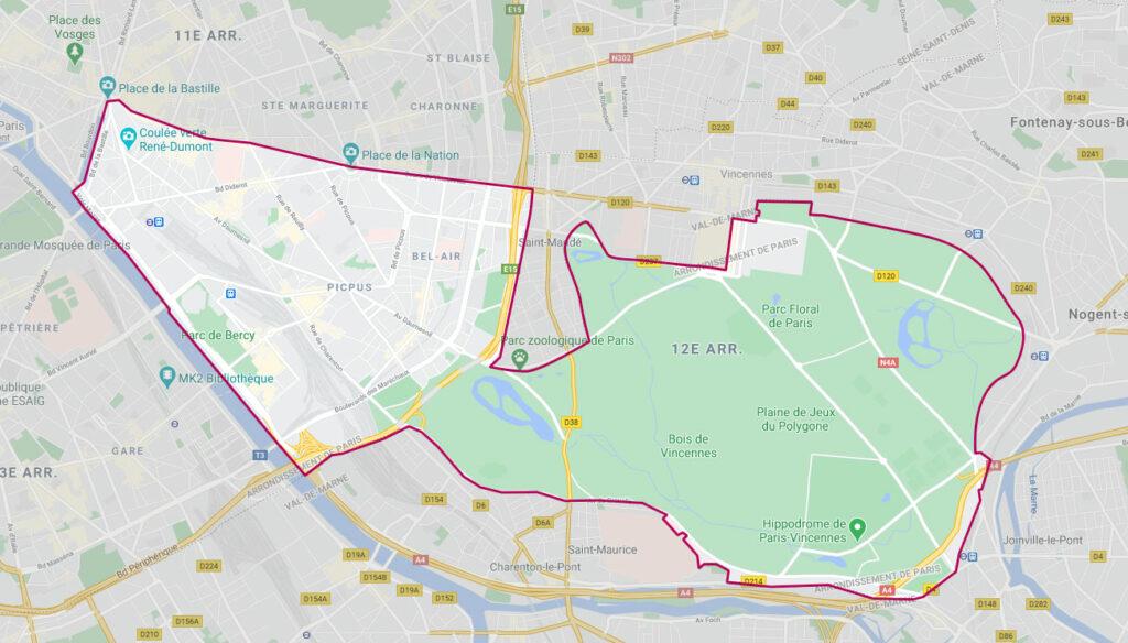 Zone d'intervention Serenadom dans Paris 12